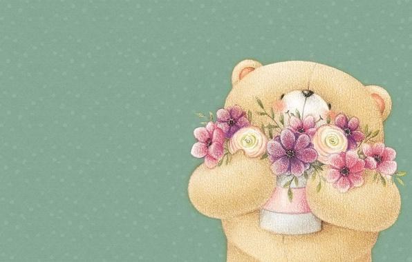 Картинка улыбка, настроение, арт, мишка, букетик, детская, Forever Friends Deckchair bear