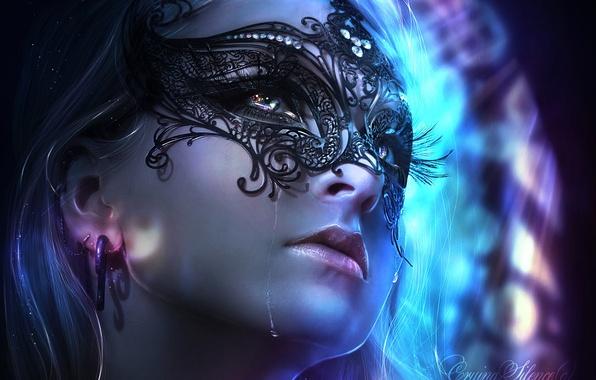 Картинка взгляд, девушка, лицо, маска, слезы, арт, длинные ресницы