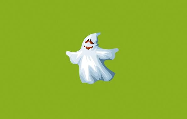 Картинка белый, зеленый, улыбка, минимализм, призрак, ghost, привидение