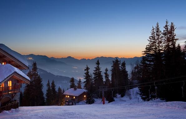 Картинка зима, снег, деревья, пейзаж, закат, горы, природа, дома