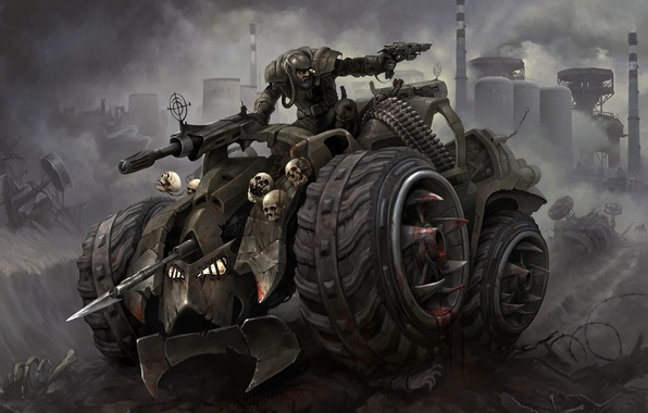 Картинка car, battlefield, skull, gun, blood, pistol, fantasy, soldier, chaos, weapon, war, dead, power, dust, fog, …