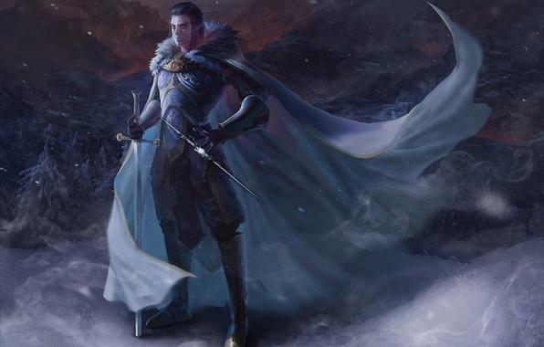 Картинка оружие, ветер, эльф, меч, арт, парень, плащ