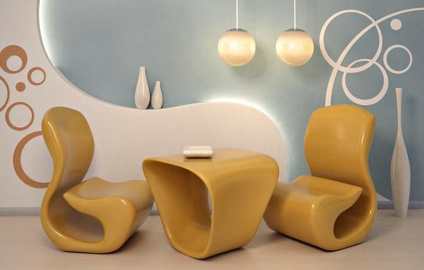 Картинка дизайн, стиль, комната, интерьер, кресло, ваза, форма, желтое, квартира