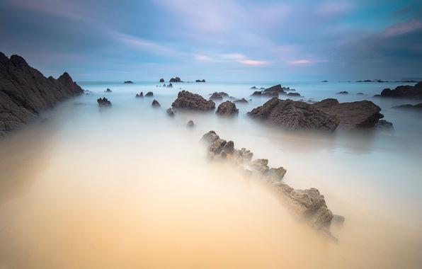 Картинка море, небо, облака, камни, скалы