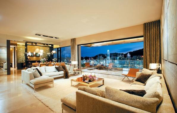 Картинка пейзаж, город, стол, комната, обои, интерьер, Гонконг, кухня, Китай, wallpaper, балкон, пентхаус, квартира, Penthouse, небоскрёбы, …