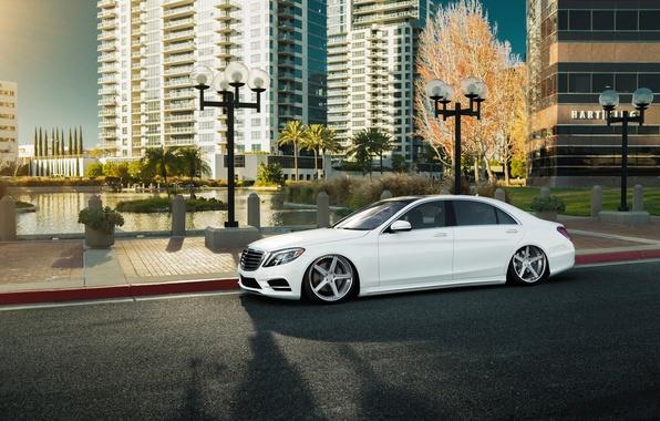 Картинка car, white, mercedes, tuning, stance, s-klasse