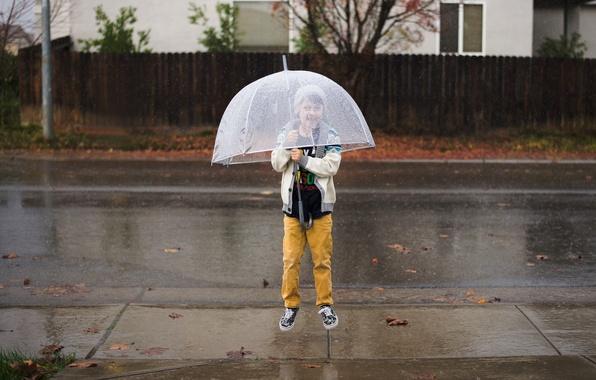 Картинка прыжок, ребенок, зонт, мальчик