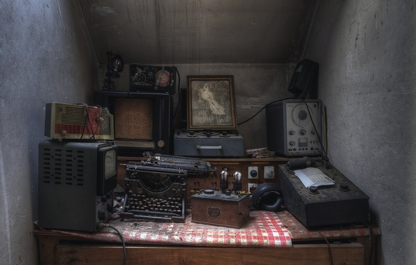 Картинка фон, Lost, Abandoned, Typewriter, апаратура