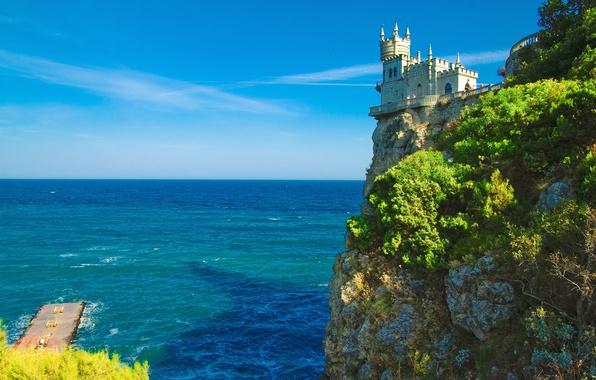 Картинка море, пейзаж, скала, замок, берег, причал, горизонт, Украина, лазурь, Крым, Ласточкино гнездо, Oldtime castle, утёс