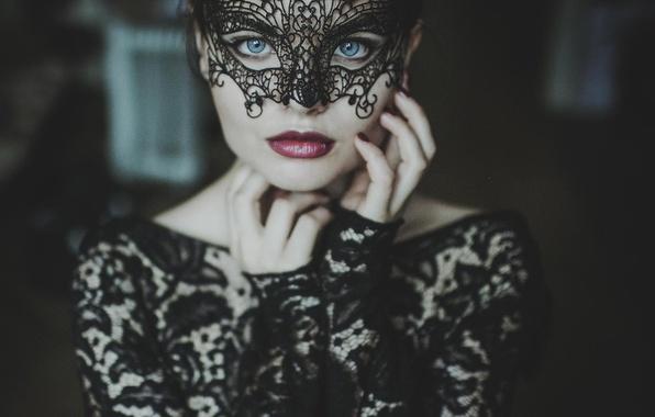 Картинка взгляд, девушка, платье, маска, кружева