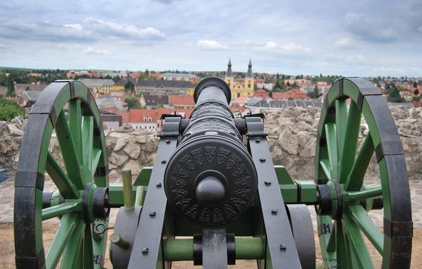 Картинка город, пушка, старинное