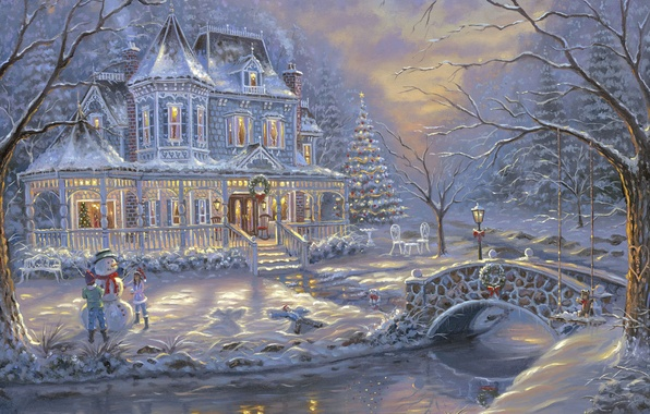 Картинка холод, зима, снег, украшения, мост, дети, река, елки, лёд, ели, мороз, снеговик, ёлка, ice, живопись, ...