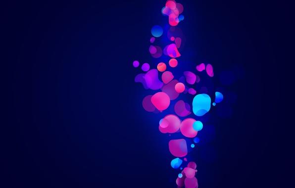 Картинка синий, абстракция, пузыри, фон, обои, яркие, картинка