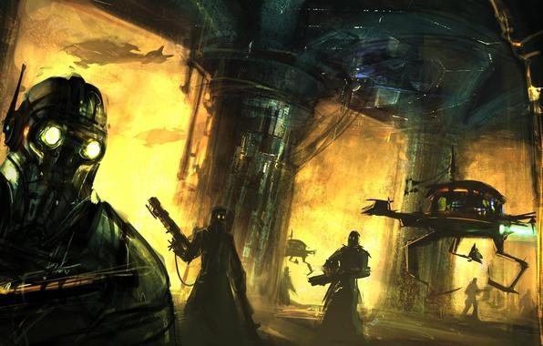 Картинка оружие, люди, робот, Колонны, наемники