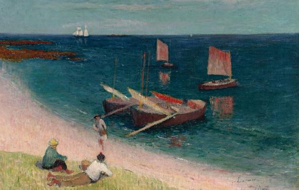 Картинка люди, берег, картина, лодки, парус, морской пейзаж, Анри Море, Пляж на Лазурном Берегу