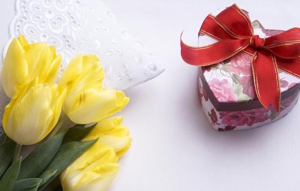 Картинка цветок, цветы, подарок, сердце, тюльпан, букет, лента, тюльпаны, жёлтые