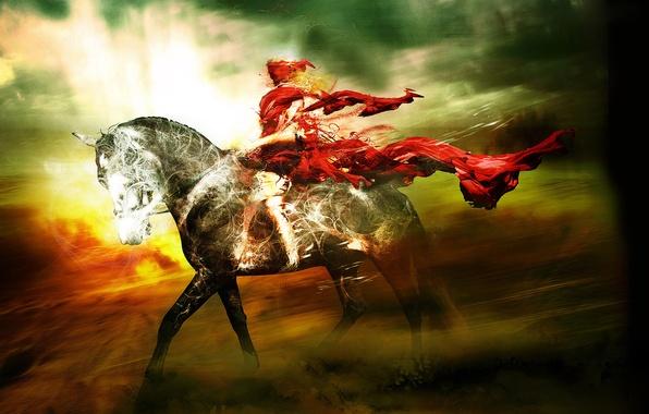 Картинка небо, свет, тучи, конь, ветер, обои, лошадь, всадник, плащ