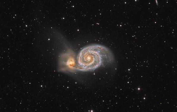Картинка звёзды, галактика, Гончие Псы, M 51, Водоворот, созвездии