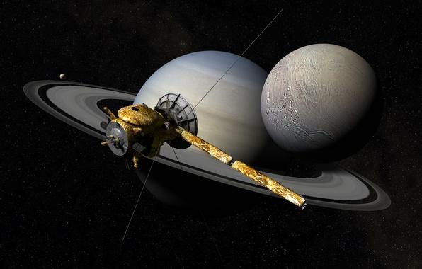 Картинка космос, звезды, сатурн, автоматический, космический аппарат, Кассини-Гюйгенс