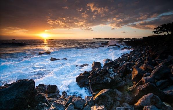 Картинка закат, камни, океан, побережье, Гавайи, Hawaii