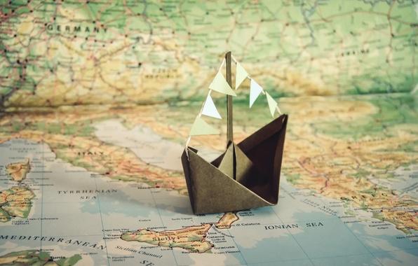 Картинка бумага, корабль, карта