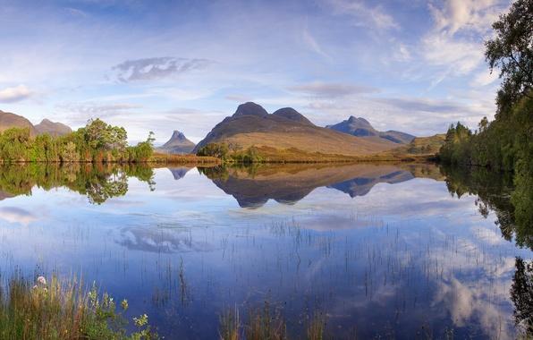 Картинка небо, трава, облака, пейзаж, горы, природа, озеро, Scotland, Loch Cal Dromannan