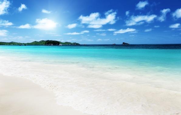 Картинка песок, море, пляж, небо, облака, пейзаж, природа