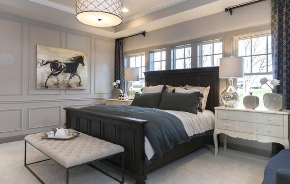 Картинка дизайн, лампа, кровать, картина, подушки, спальня, комод