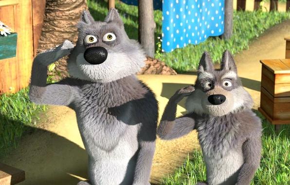 Картинка мультфильм, двор, волки, маша и медведь