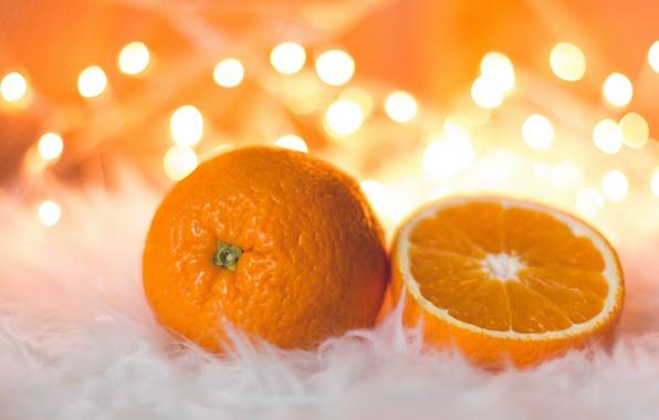 Картинка оранжевый, настроение, праздник, новый год, еда, рождество, апельсины, мех, фрукты, боке, композиция, цитрусовые