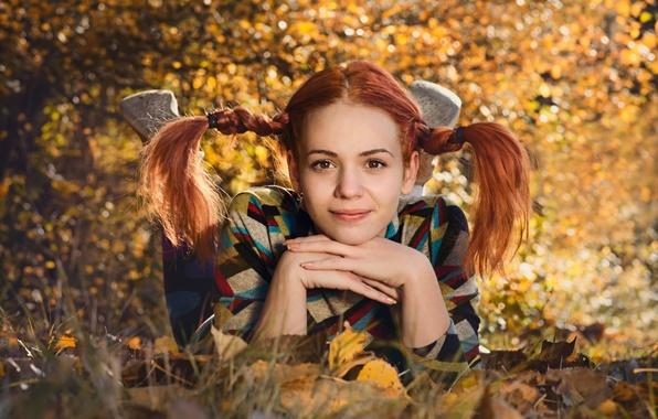 Картинка осень, девушка, улыбка, портрет, косички