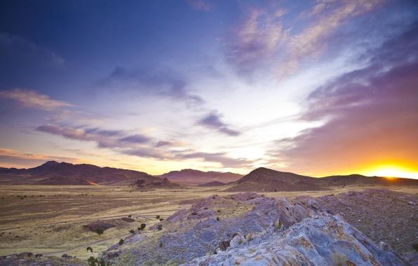 Картинка солнце, облака, горы, рассвет, пустыня