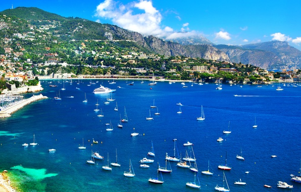 Картинка море, пейзаж, горы, побережье, Франция, дома, яхты, лодки, катера, Ницца, Nice