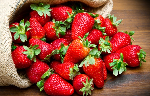 Картинка клубника, ягода, мешок, красная, крупным планом