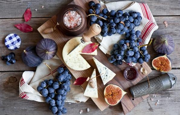 Картинка сыр, виноград, натюрморт, инжир, тёрка, фиги