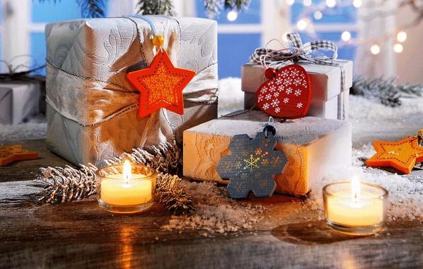 Картинка зима, звезды, снег, украшения, снежинки, праздник, сердце, свечи, Новый Год, Рождество, подарки, Happy New Year, …