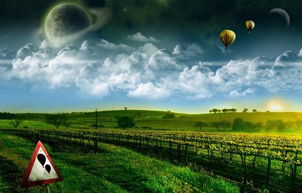 Картинка зелень, мечта, космос, полет, здесь исполняются желания, воздушные шары