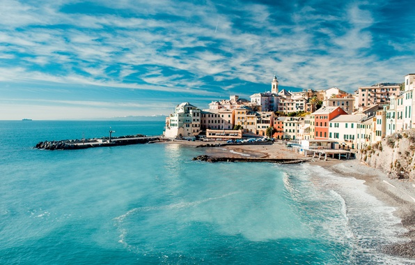 Картинка море, небо, вода, облака, пейзаж, природа, берег, побережье, дома, Италия, Italy, Cinque Terre, Чинкве-Терре