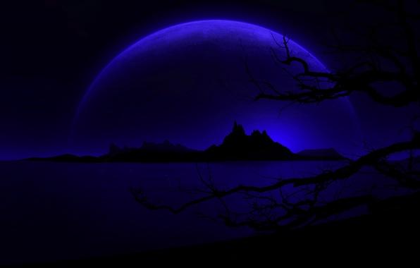 Картинка горы, ночь, дерево, планета, силуэт