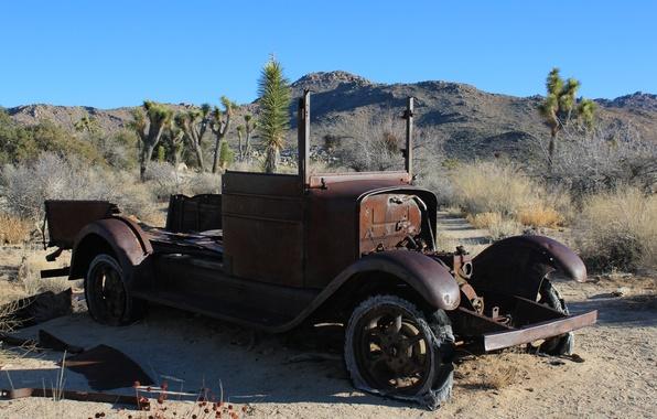Картинка авто, ретро, обои, пустыня, wallpaper, cars, брошенное, ржавое авто