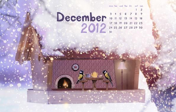 Картинка снег, птицы, чай, новый год, рождество, скворечник, new year, календарь, декабрь, merry christmas, синицы, december