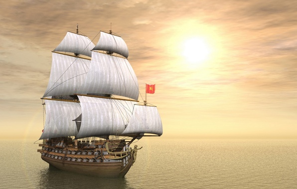 Картинка небо, солнце, океан, корабль, парусник, пушки, паруса, мачты