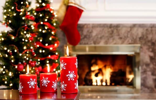 Картинка украшения, lights, огни, дерево, огонь, праздник, свечи, fire, камин, Happy New Year, tree, Merry Christmas, …