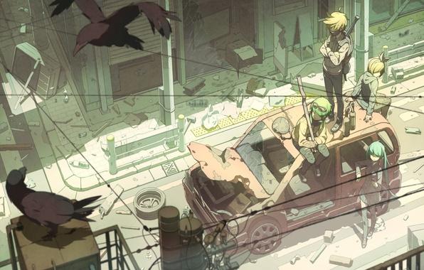 Картинка машина, птицы, город, оружие, девушки, провода, дома, арт, парни, vocaloid, hatsune miku, kagamine rin, kagamine …
