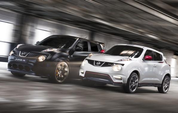 Картинка белый, чёрный, скорость, Ниссан, Nissan, передок, кроссовер, Juke-R, Джук