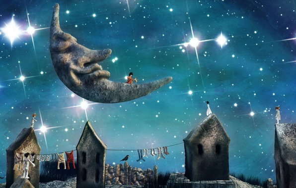 Фото обои ночь, город, луна