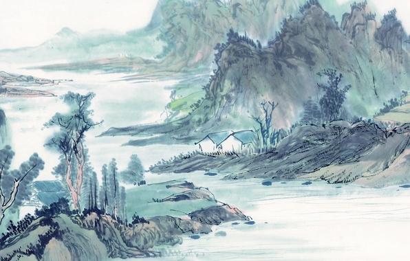 Картинка природа, река, берег, дома, вечер, арт, акварель