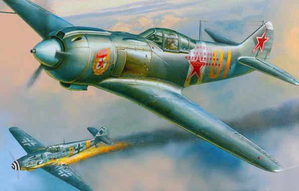 Картинка пожар, огонь, бой, Messerschmitt, капут, лавочкин, Ла-5ФН, Bf.109G, подбит