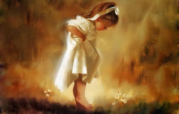 Картинка девочка, Живопись, трава. цветы, Доналд Золан