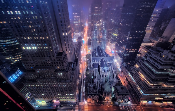 Картинка дорога, ночь, город, огни, улица, окна, здания, New York